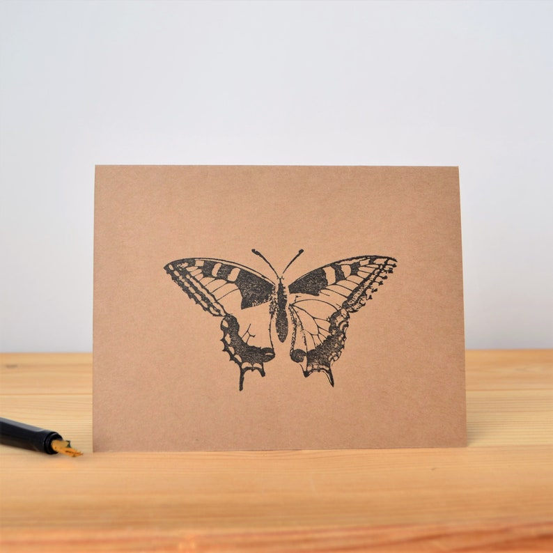 Swallowtail Butterfly Blank Note Card Set Just Because Card Hand Stamped Butterfly Greeting Cards
