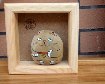 Custom, hand-painted cute cat, lucky cat, birthday, gift, cute, original, stone painting