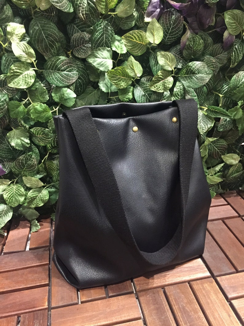 Mingen Handiwork original handmade black artificial leather PU bag