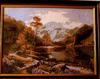 Finished cross stitch, Completed cross stitch with frame, crossstitch counted cross stitch, Picture landscape