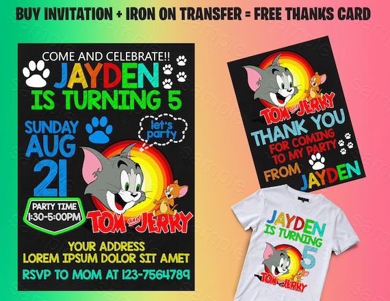 Tom Jerry Invitation And Iron On Transfer