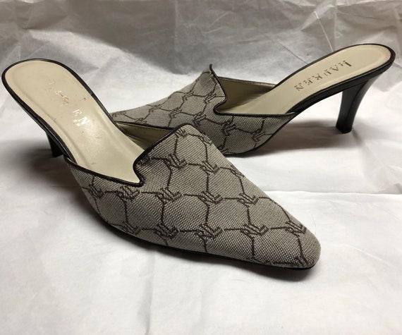 Vintage 1990s Ralph Lauren Signature Fabric Mule S