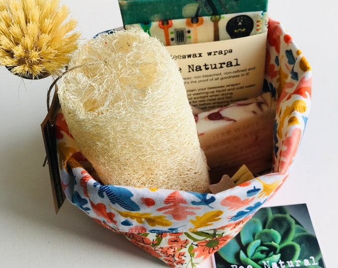 Eco friendly goodies in Fabric basket