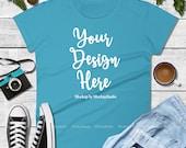 Fall Shirt Mock Up, Autumn Caribbean Blue Anvil 880 Tshirt Mockup, Blank T-Shirt Flat Lay, Unisex Women Youth Shirt Mockup, Men Flat Lay