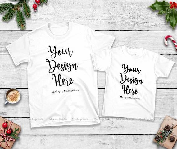 Christmas Family Two White T Shirts Mockup Unisex Women Kids