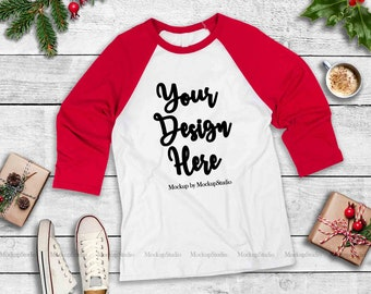 Download Free Red Christmas Raglan Mock Up, Winter Holiday Baseball Tee Flat Lay, Bella Canvas 3200 Blank Unisex Women Youth Mockup Display PSD Template