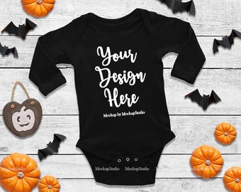 Download Free Halloween Newborn Black Blank Baby Long Sleeve Bodysuit Mockup, Toddler Fall Flat Lay Infant Shirt Mock Up, Baby Tee Mockup Onepiece Display PSD Template