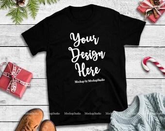 9f2e4a7b Christmas Black T-Shirt Mockup, Gildan 64000 Tshirt Flat Lay, Winter Style  Blank Shirt Mock Up, Unisex Women Youth Shirt Mockup Flat Lay Tee