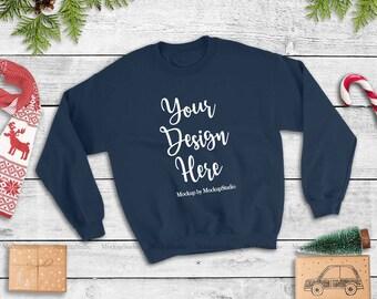 Download Free Navy Christmas Sweatshirt Mockup, Unisex Women Youth Gildan Heavy Blend Crewneck Sweatshirt 18000 Mock Up Flat Lay PSD Template