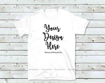 Download Free White Gildan 64000 Tshirt Mockup, White Shirt Mock Up, Styled T-Shirt Flat Lay, Unisex Women Youth Tee Wood Mockup, Flat Lay Tee Apparel PSD Template