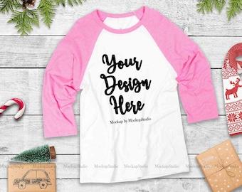 Download Free Christmas Pink Raglan Mock Up, Bella Canvas 3200 Winter Holiday Baseball Tee Blank Unisex Women Youth Mockup Display Flat Lay PSD Template