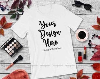 56a174de0 Fall Feminine Bella Canvas 3001 White Unisex Women T-Shirt Mock Up ...