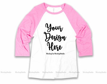 d4ffa9610 Pink BC 3200 Raglan Mockup, Blank Baseball Shirt Flat Lay Mock Up, Unisex  Women Youth Jersey Raglan On White Background Display