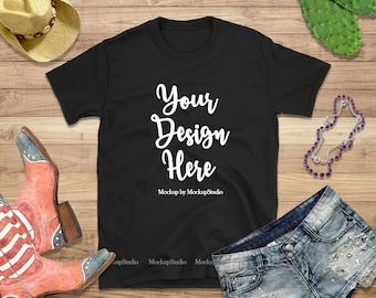 Download Free Gildan 64000 Black Blank Tshirt Mockup, Styled Black T-Shirt Flat Lay, Summer Style Black Shirt Mock Up, Texas Women Shirt Mockup, Flatlay PSD Template