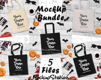 Download Free Fall Tote Bag Mockup Bundle, 5 Canvas Bag Autumn Mock Up Collection, Styled Black Beige Natural Shopping Grocery Bag Flat Lay Display Set PSD Template