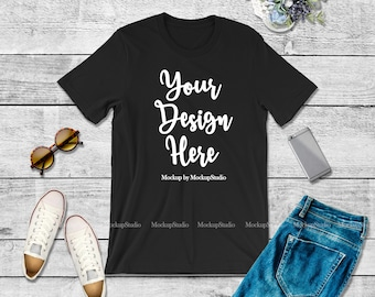 Download Free Bella Canvas 3001 Black Unisex Women T-Shirt Mock Up, Youth Black Shirt Jeans Flat Lay Tshirt Tee Apparel Styled Wood Background Mockup PSD Template