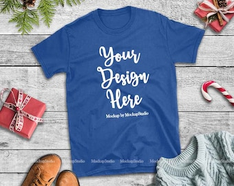 Christmas T Shirt Mockup Royal Blue Gildan 64000 Tshirt Flat Lay