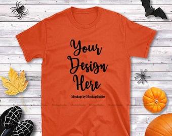 Download Free Halloween Orange T-Shirt Mockup, Gildan 64000 Tshirt Flat Lay, Fall Style Orange Shirt Mock Up, Unisex Women Youth Shirt Mockup Flatlay Tee PSD Template