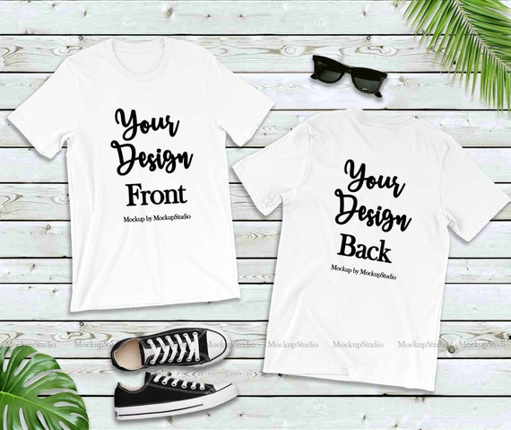 White Front Back T Shirt Mockup Double Side Blank Download Free