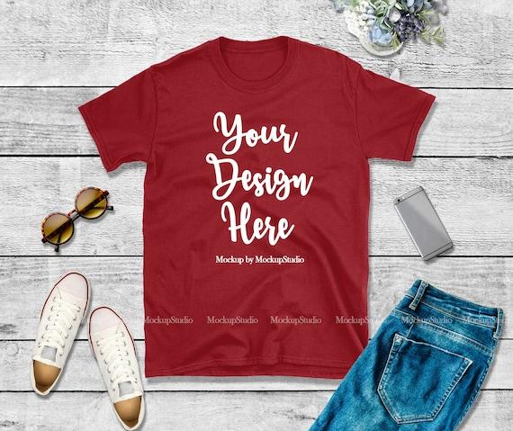 Styled T-Shirt Flat Lay Gildan 64000 Blank Tshirt Flat Lay Summer Style Black Shirt Mock Up Women Shirt Mockup Black Tshirt Mockup