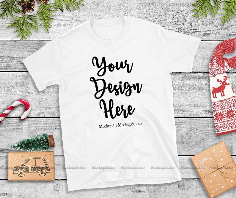 af5cb3732a1e Christmas T-Shirt Mock Up Gildan White 64000 Tshirt Flat Lay