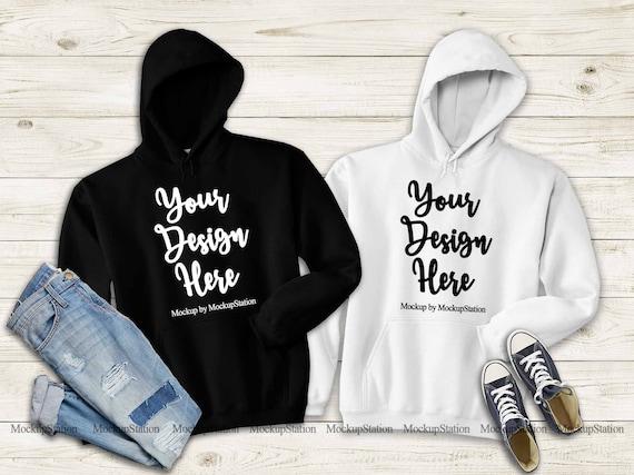 Hooded Sweatshirt Mockup Black Mockup Hoodies Gildan 18500 Black Hoodie Mock up Gildan Black 18500