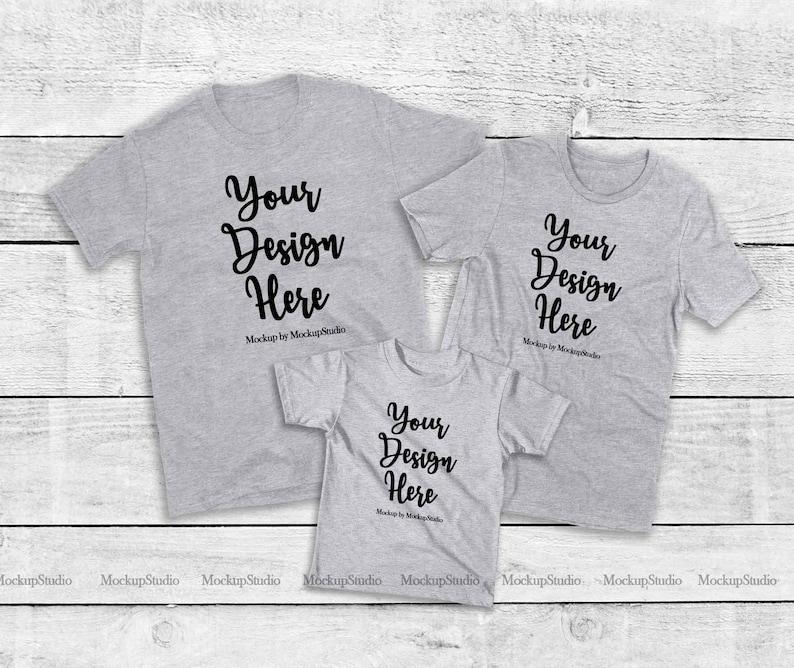 Parents Siblings Group Tee Flat Lay Mock Up Matching Family 3 Athletic Heather Shirts Mockup Unisex Women Kid T-Shirt Set
