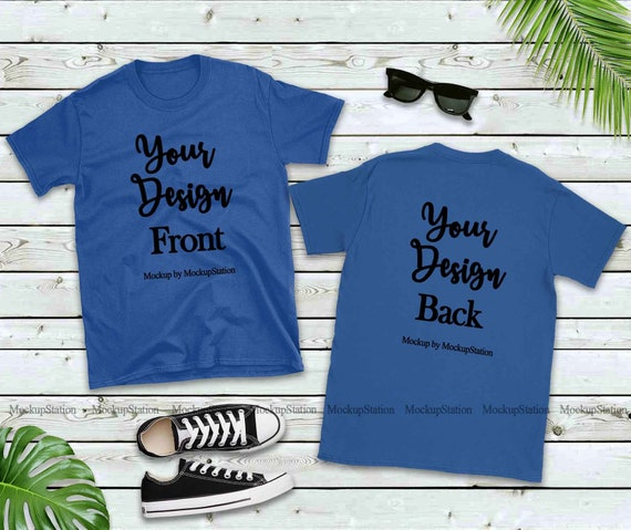 Front Back Blank Tshirt Mockup Royal Blue Shirt Mock Up Etsy