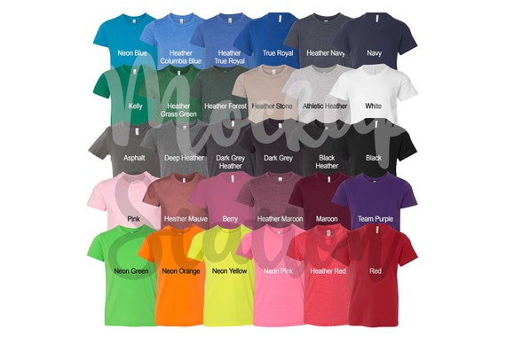 Color Chart For Bella Canvas 3001y T Shirt Template Digital Etsy Color Chart Instant Download Shirt Color Swatch