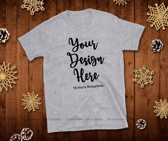 Christmas Sports Background.Christmas Sports Grey Shirt Mock Up Gildan 64000 Tshirt Flat Lay Winter Wood Background Blank Tee Unisex Women Youth Teen Holiday Mockup