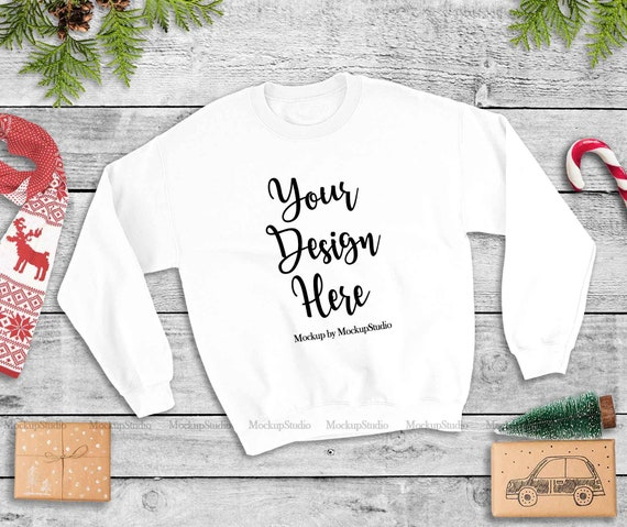 Christmas Red Sweatshirt Mockup Gildan Heavy Blend Crewneck Sweatshirt 18000 Mock Up Unisex Women Youth Winter Holiday Flat Lay Display