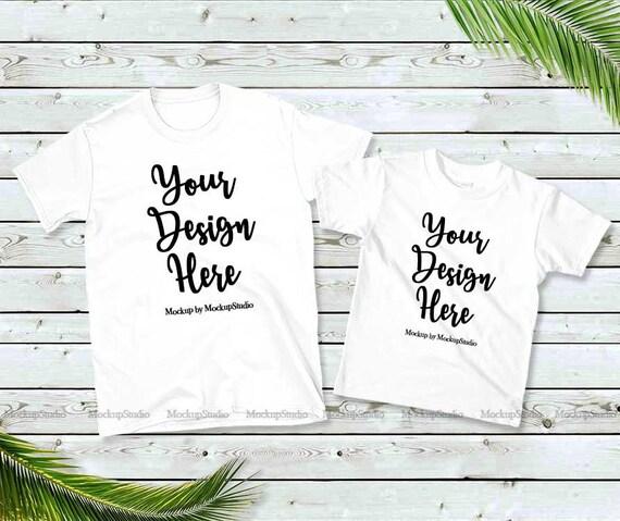 Family Two White T Shirts Mockup Unisex Women Kids American Etsy