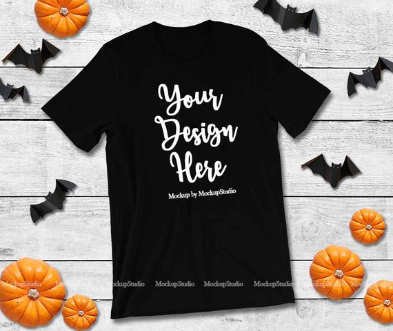 Canvas Fall Style Adult Shirt Mockup 3001  Couple/'s Black /& White Flat Lay in a FallAutumn Style  Photo Download Bella
