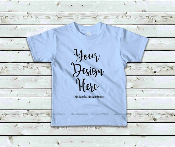 Kids Baby Blue Tshirt Mockup Children American Apparel 2105 Etsy