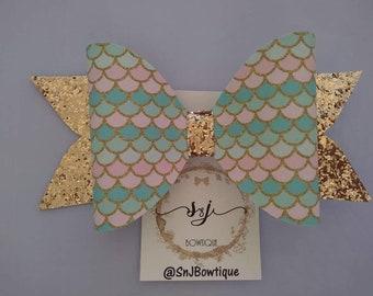 XL Gold Mermaid Hair Bow