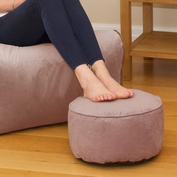 Superb Round Footstool Bean Bag Velvet Evergreenethics Interior Chair Design Evergreenethicsorg