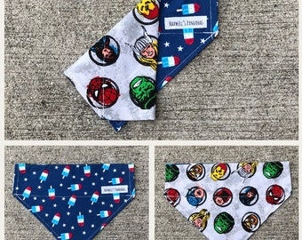 Popsicles/Marvel Reversible Over the Collar Dog Bandana
