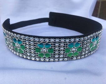 Daisy Blues and greens sparkle non slip sports headband
