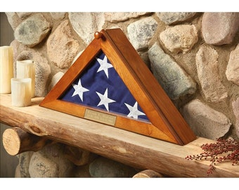 Flag Display Case With Personalized Engraving - For Standard U.S Military Memorial 5' x 9.5' Flags