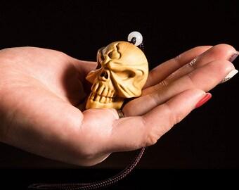 handmade wood curving 3D Skull