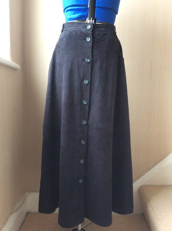 Vintage Jaeger Navy Suede Midi skirt