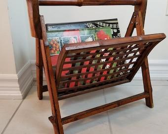 Bamboo Foldable Magazine Rack/ Vintage Bamboo Magazine Holder, Made In China/ Boho Home Decor