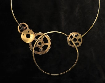 Brass necklace with vintage clock gears