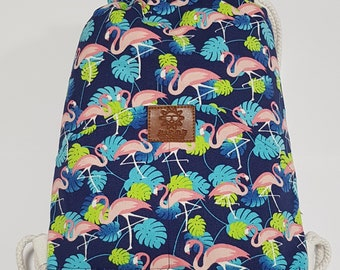 Flamingo -drawstring back pack with classic pocket