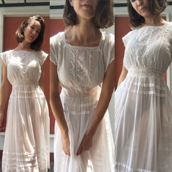 Vintage white sheer petticoat - image 2