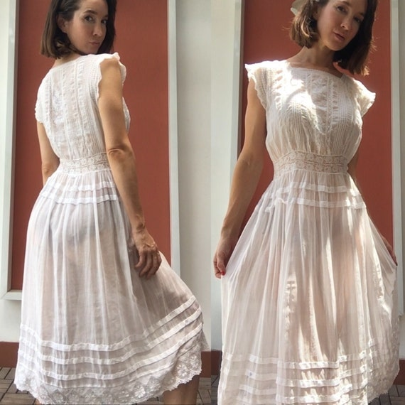 Vintage white sheer petticoat - image 1