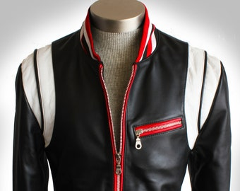 """Future Of Retro """"Made to Measure"""" Customize Your Own Tailored Red Rebel Double Rider Scar Stitched Washed Lambskin Leather Biker Jacket"""