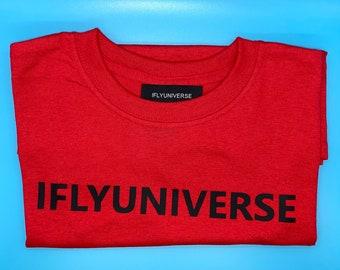 IFLYUNIVERSE RED T-shirt with BLACK lOGO
