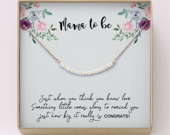 New Mom Gift O Pregnancy Freshwater Pearl Bar Necklace Baby Shower For Expectant MothersPregnant Sisters Friends NB7
