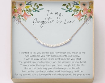 0e1a74b1 Daughter-In-Law Gift Necklace • Pearl Bar Necklace • Bride Wedding Gift •  Jewelry From Mother-In Law •Simple Jewelry • Gift for Bride, W22